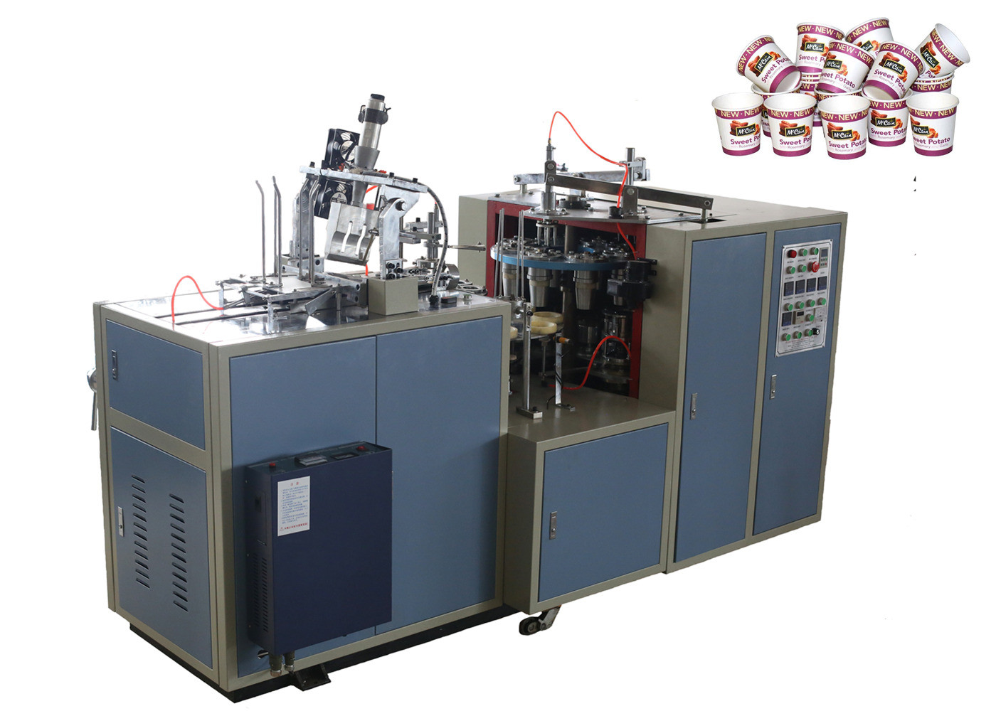 Professional Fully Automatic Paper Cup Making Machine With 3 Chain / Double Belt